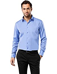 VB Chemise Homme Regular Fit Taille Normale Uni Manches Longues Infroissable