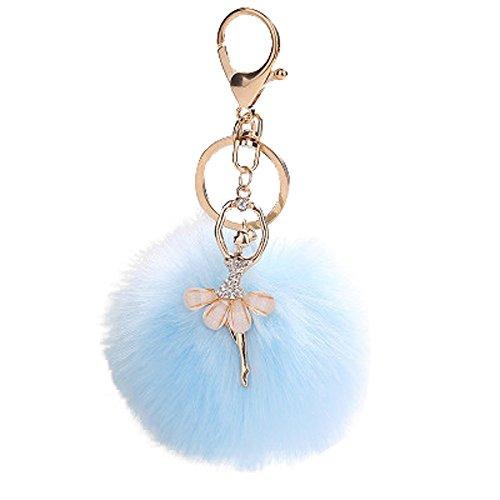 MOIKA 8 cm Fluffy Keychain Mignon Danse Ange Brillant Couronne Porte-clés Pendentif Femmes Porte-clés Porte Pompoms Porte-clés Valentines Cadeau D'anniversaire(Bleu Ciel)