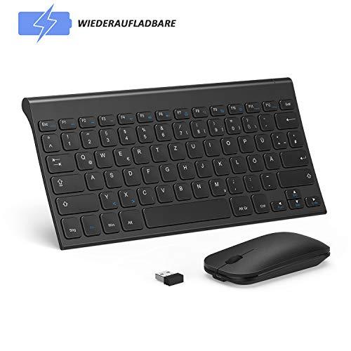 Set Kabellos, Klein Slim Wiederaufladbar Wireless Tastatur und Maus mit Lange Akkulaufzeit QWERTZ Deutsches Layout für Windows-Schwarz ()
