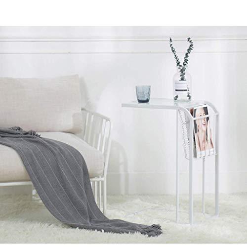 Schmiedeeisen-sofa (IG Haushalt Couchtisch Nordic Schmiedeeisen Kleines Wohnzimmer Sofa Europäischen Kleinen Tisch Einfache Schlafzimmer Mini Tisch,Weiß)