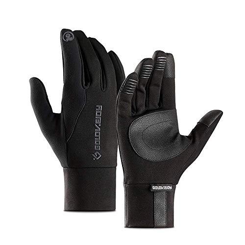 ADWN Uuq Winter warme Handschuhe, winddichte rutschfeste Touchscreen Fahrrad Klettern Mountain Ski Outdoor-Sporthandschuhe,Schwarz,* L -