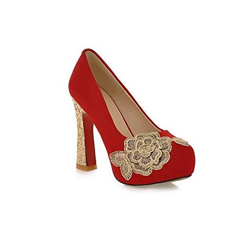 BalaMasa da donna, punta tonda, tacco alto, con linguetta di estrazione, in pelle, per scarpe Imitated pompe Red