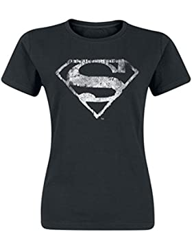Superman Logo Mono Distressed Camiseta Mujer Negro