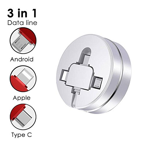 CWeep Retractable Charging Cable[Newest Version] 3 in 1 Retractable Multi Connector USB Cable with Type-C/Micro/Lightning Charge Cable Line for iPhone,IPad and Android Smartphone Connector (White) (Cable Usb Lightning Retractable)