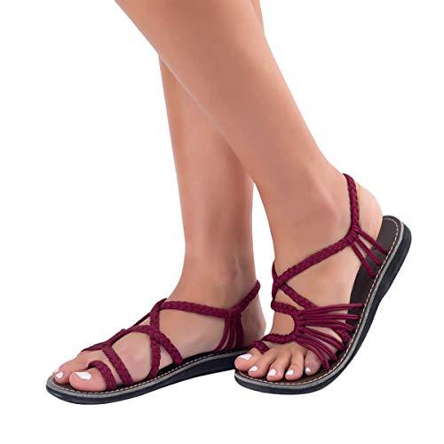 ORANDESIGNE Damen Geflochtene Sandalen Sommer Gladiator Schuhe Casual Flachen Flip Flops Strand Zehentrenner Sandalen Weinrot EU 40