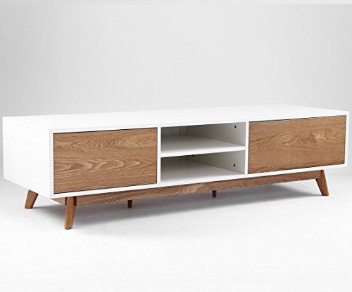 Meuble TV design ANNECY 174 cm chêne et blanc
