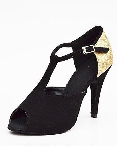 ShangYi Chaussures de danse(Noir) -Non Personnalisables-Talon Aiguille-Satin / Paillette Brillante-Salsa black and gold
