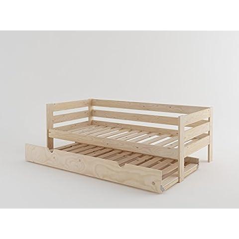 LUFE - Cama sofá con lamas y nido (90_x_200_cm, Madera maciza pulida)
