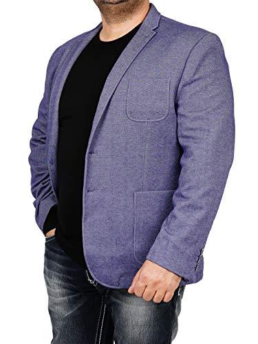 bonprix Herren Sakko untersetzt Comfort Fit Sweat Jeanslook Übergröße Blazer Zweiknopf Jackett Anzug Langgröße bequem Spezialgröße, Größe 25, Jeansblau - Leinen-einreiher Sakko