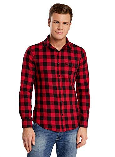 oodji Ultra Homme Chemise à Carreaux avec Poche Poitrine, Rouge, 44cm / FR 56 / XL
