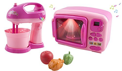 Voko USA Toy Microwave and Toy Mixer Blender Children's Pretend Play Battery Operated Toy Appliance Set w/ Toy Food (Pink)