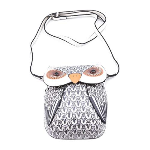 Kingus Women Owl Schultertasche Geldbörse Cartoon Messenger Bags Umhängetasche Handytasche Handtaschen, cremeweiß (Bags Owl Messenger)