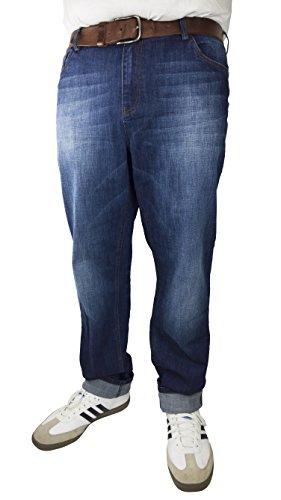 Herren 5-Pocket Jeans in Tapered Form in Den Größen 60, 62, 64, 66, 68, 70, XL, XXL, 3XL, 4XL, 5XL, 6XL, Große Größen, Übergröße, Big Size, Plus Size, Dark Blue Stone Washed, 62