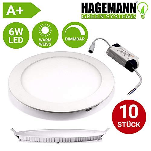 HAGEMANN® 10 Stück LED Deckenleuchte rund dimmbar 6 Watt Warmweiß (3000 K) - Ø 12 cm   Lochgröße: 10,2 cm   1,5 cm Einbautiefe - ultra flach Einbauleuchte LED Panel Weiß