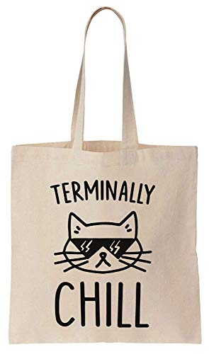 Finest Prints Terminally Chill Cool Cat With Sunglases Cotton Canvas Tote Bag (Hipster-sunglases)