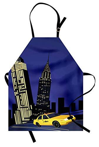 Stadt Schürze, Wolkenkratzer und Taxi New York Theme American Downtown Scenic Skyline, Unisex-Küche Latzschürze mit verstellbarem Hals zum Kochen Backen Gartenarbeit, Violett Blau Gelb ()