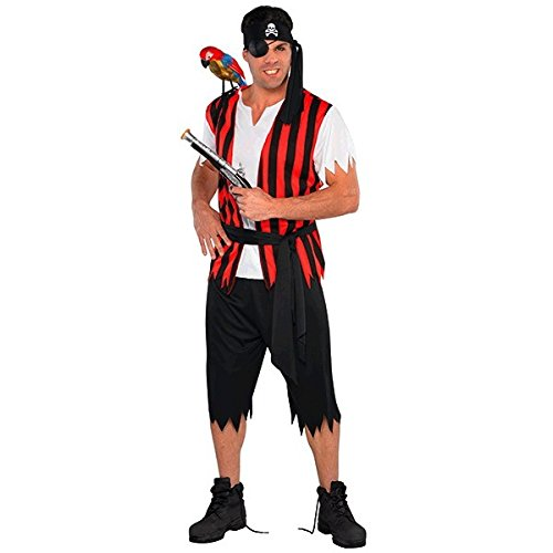 Men's Low Cost Pirate Costume. Standard or PLUS SIZE.