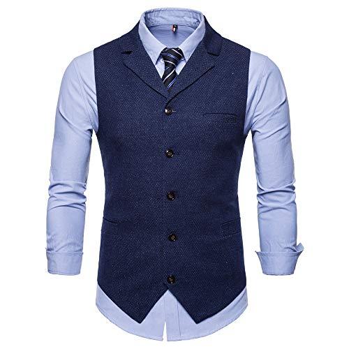 Sannysis Anzugweste Herren Herbst Winter Slim Fit Zweireiher mit Knöpfen Gilet Business Casual Klassisch Basic Männer Anzug Weste Suits Mantel