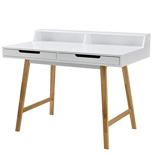 [en.casa]®] Escritorio Retro (85x110x60cm) Blanco Lacado Mate - con cajón