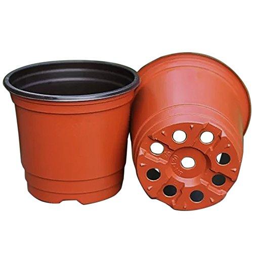 Gosear 50 Stk Kunststoff Blume Töpfen Pflanzer Doppel Farbe Garten Anlage Kindergarten Töpfen Container für Wachsende Kräuter Kleinere Jährliche Gemüse (Kindergarten-container)