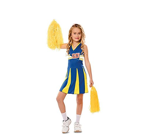 EUROCARNAVALES Kinder Kostüm Cheerleaderin Blue Arrow Kleid Cheerleader Amerika Karneval (10-12 Jahre)