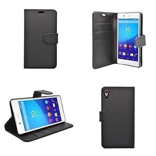 Preisvergleich Produktbild Kompatibel mit Sony Xperia Z3 Plus Schwarz Einfarbig Kunstleder Brieftasche Flip Case Hülle und Gratis Displayschutz von Gadget Boxx