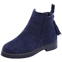 0d918ca55 Qiusa Zapatos de Punta Redonda para Mujer Botines con borlas Interior de  Lana Cremallera Suede Zapatos