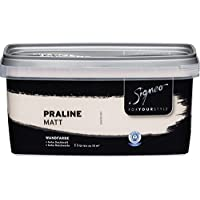Signeo Bunte Wandfarbe, PRALINE, Altrosa, matt, elegant-matte Oberflächen, Innenfarbe, 1 Liter