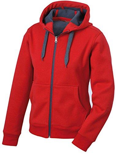 Taillierte Kapuzenjacke mit Fleecefutter - für Damen Red/carbon