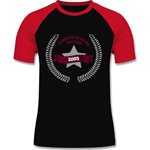 Geburtstag - 2005 Limited Special Edition - zweifarbiges Baseballshirt für Männer Schwarz/Rot