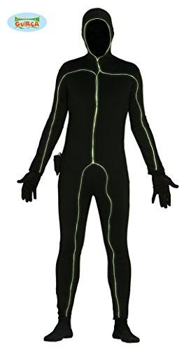 leuchtender Ganzkörperanzug Strichmännchen Kostüm Gr. M/L, Größe:L