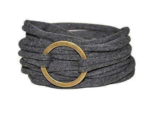 Wickelarmband in anthrazit mit bronzefarbenem Ring - onesize -