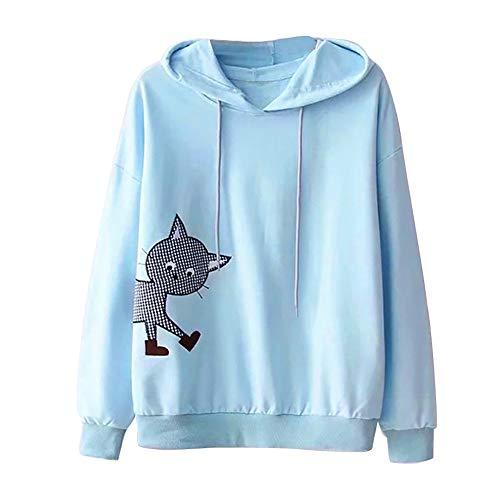 Mujer Sudaderas Gato, K-Youth Sudaderas Tumblr Mujer 2018 Otoño Invierno Adolescentes Chicas Ropa Moda Sexy Manga Larga Blusa Tops Hoodie Sweatshirt Camiseta(Azul, S)