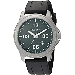Roots Men's 'Core' Quartz Stainless Steel and Rubber Casual Watch, Color:Black (Model: 1R-LF400GN1B)