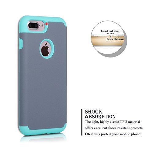 iPhone 7 Plus Coque, SpiritSun iPhone 7 Plus Etui 2 en 1 Impact Hybride Souple Silicone TPU + Dur PC Antichoc Bumper Double Etui Coque de Protection pour Apple iPhone 7 Plus (5.5 pouces) avec Stylet - Bleu et Gris