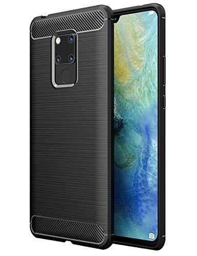 TTVie Cover per Huawei Mate 20 X, Custodia Sottile e Morbida Protettiva in Silicone TPU con Fibra di Carbonio per Huawei Mate 20 X 7.2 Smartphone Modello 2018, Nero