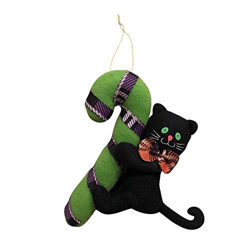 Zicue Humorvolle Maske Maskerade Prom Maske Halloween Puppe Anhänger Kreative Kürbis Schwarze Katze Geist Halloween Puppe Einkaufszentrum Tür Anhänger Plüsch Dekorative Hängen ( Farbe : B ) (Halloween-kürbisse, Schwarze Katze)