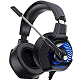 ONIKUMA Gaming Headset - Headset PS4 Mikrofon-Headset Game Kopfhörer over Ear 7.1 LED Bass Surround Noise Cancelling mit Mikrofon 3,5mm Stumm-und Lautstärkeregler für PS4 PC Xbox One Laptop Smartphone