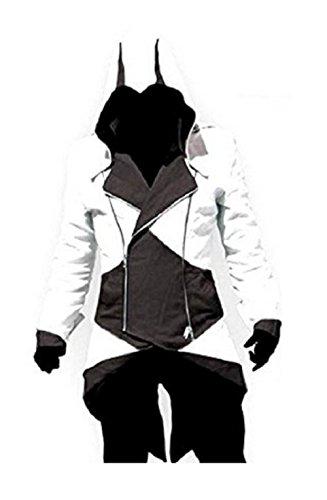 Giacche Cosplay di Assassin's Creed - Credo degli Assassini - Bianco e Nero (S = XS ITALIANA)