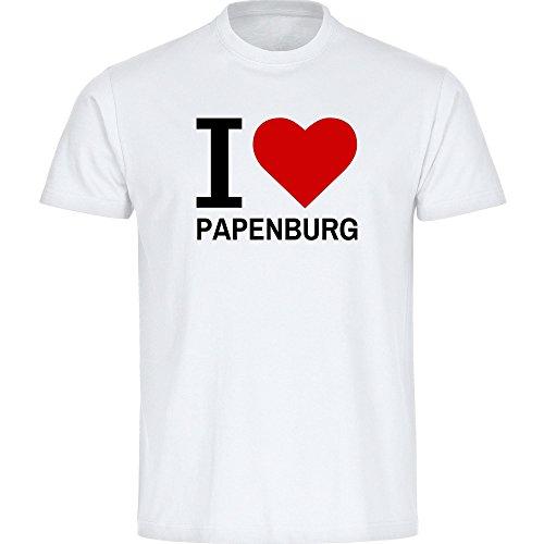 T-Shirt Classic I Love Papenburg weiß Herren Gr. S bis 5XL - Lustig Witzig Sprüche Party Funshirt, Größe:XL