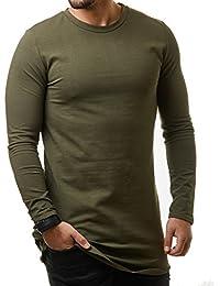 VIP Clothing Herren Longsleeve Sweater Sweatshirt Long Oversized Langarm Shirt Zipper Unifarben 13311