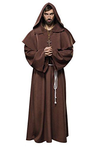 Dunkle Mönch Kostüm - Herren brauner Mönch Anzug Kostüm Verkleidung mit Cape und Gürtel aus Kreuz-Kette Umhang Hängeärmel M-L