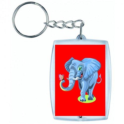 'Llavero 'Elefante de mariposa de Feliz de Niedlich de disfrutar de animales de diversión Wild de Zoo de diseño de suerte de Fröhlich de divertido en blanco y negro de color azul de rosa de amarillo de color rojo de verde | Keyring-Funda colgante-Mochila colgante-Llavero rojo