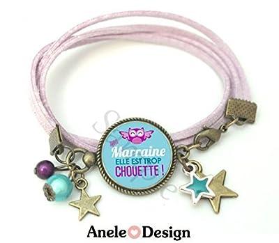 Bracelet marraine, cadeau marraine, bracelet cabochon, bijoux cabochon, bracelet délicat