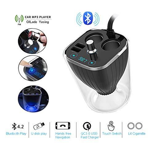 degerät, Multifunktions-Kfz-Netzteil Freisprecheinrichtung Bluetooth Car Kit mit Bluetooth-FM-Sender / MP3-Player/Schnellladegerät 3.0/2-Fach Zigarettenanzünder-Splitter ()