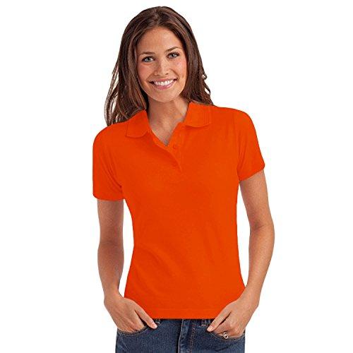 Hanes Athletisches Shirt (Hanes Elegance - Damen Freizeit-Polohemd - Piqué - kurzärmlig - einfarbig - Orange - XL)