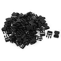 sourcingmap® Fibbie con sganciamento di sicurezza in plastica dura 42 x 20 X 7mm,nere,50 pezzi