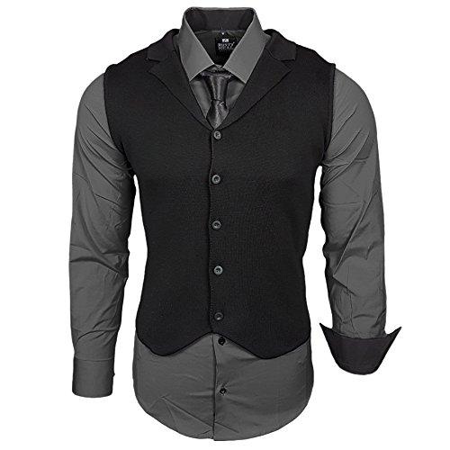 Business Herren Hemd Weste Krawatte Set Anzug Smoking Sakko Herrenanzug Slim fit Hemden Freizeit Hochzeit Hemden B-40-444, Größe:L, Farbe:Anthrazit (Weste Hemd Krawatte)