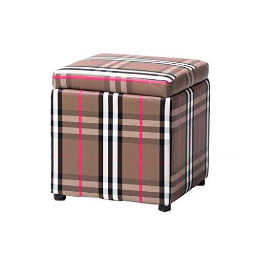 Chairs Multifunktions-Fußbank, Speicher-Hocker-Spielzeug-Box, Cube-Bank-Sitzer-Stuhl, für Wohnzimmer, Schlafzimmer, Büro (Farbe : Gitter, größe : 34x34x36cm) -