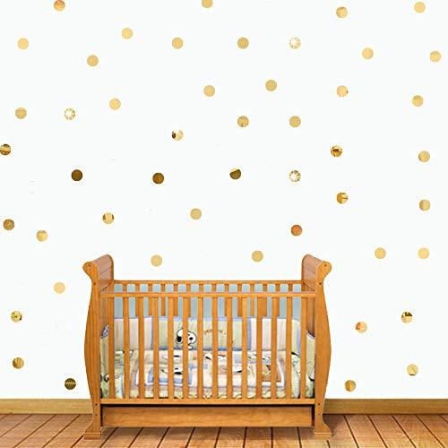 ufengke Acrílico Dorado Lunares Pegatinas de Pared 2cm de Diámetro Autoadhesivos Espejo Redondo Extraíble Adhesivos de Pared para Salón Baño Dormitorio